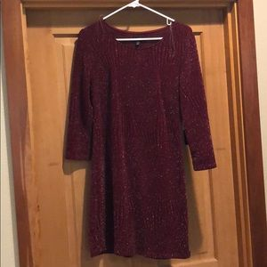 Sparkly burgundy long sleeve dress. With tags!